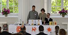 Eröffnung des Gottesdienstes durch die Herrnhuter Delegierten: D. Hösel, M. Winter, P. Vogt